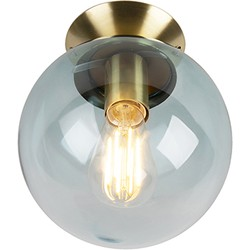 Art Deco Ceiling Lamp Brass with Ice Blue Glass Shade - Pallon