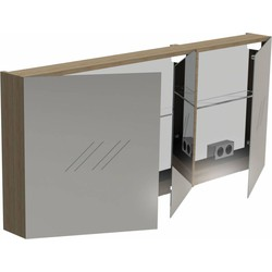 Thebalux Basic Spiegelkast 60x140x13,5 cm Antraciet Hoogglans