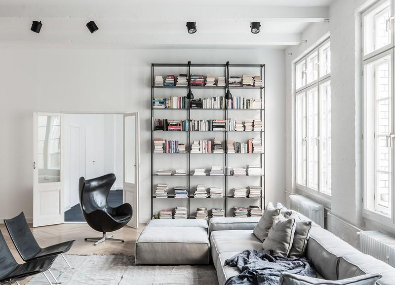 Woonkamer Met Boekenkast : Moderne woonkamer met boekenkast stock illustratie illustratie