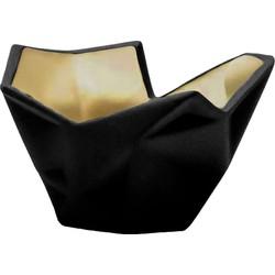Laura Waxinelichthouder - zwart/goud 11 x 8 cm