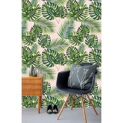 Zelfklevend behang Monstera groen roze 60x244 cm