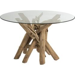 Nature branches - Eettafel - hout takken - glazen blad - rond