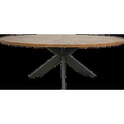 Eettafel Sunburst - 220x110 cm - eiken fineer/gepoedercoat metaal