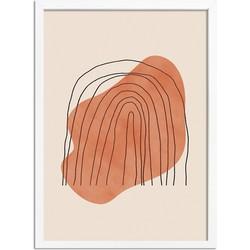 Regenboog Lijnen Poster DesignClaud- A2 + fotolijst wit