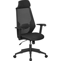 24Designs Tess Bureaustoel - Zwarte Stoffen Zitting - Kunststof Kruispoot