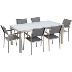 Tuinmeubel set glasplaat wit 180 x 90 cm 6 stoelen met gespannen textiel grijs GROSSETO
