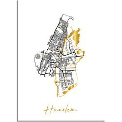 Haarlem Plattegrond Stadskaart poster met goudfolie bedrukking - A2 + Fotolijst zwart
