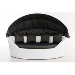 24Designs Ovaal Lounge Ligbed Santorini - Wit Vlechtwerk - Antraciet Kussens
