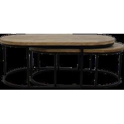 Salontafel City - 120x60 cm - mangohout/ijzer - set van 2
