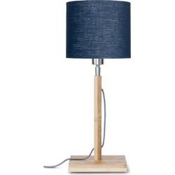 Tafellamp Fuji bamboe, linnen blue denim