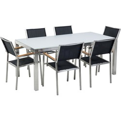 Tuinmeubel set glasplaat wit 180 x 90 cm 6 stoelen met gespannen textiel zwart GROSSETO