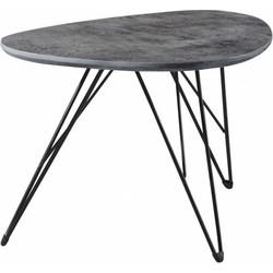 Salontafel - MDF-blad - grijze betonlook - 3D texture - niervormig - 60x40cm - pootjes zwart gepoedercoat metaal