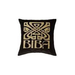 Biba Black velvet Biba logo cushion, Black