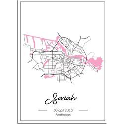 Geboorteposter Roze - Stadskaart - Geboorteplaats - A3 + Fotolijst wit