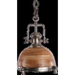 Hanglamp Toscane 40 cm ruw nickel + hout
