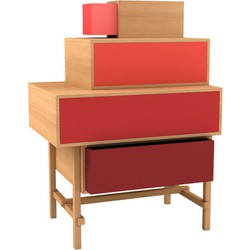 Valsecchi 1918 Terrazza Chest of drawers. Red,Natural wood