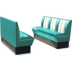 Bel Air Dinerbank Single Booth HW-150 Turquoise
