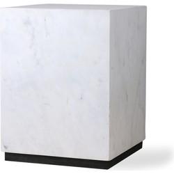 HKliving bloktafel marmer wit medium 28x28x37,5cm