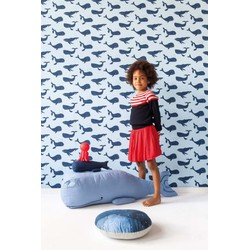 Walvis design blauw kinderbehang Studio Claas 1 rol
