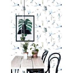 Vliesbehang Kraanvogel blauw wit  122x122 cm