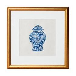 Fine Asianliving Chinese Schilderij Blauwe Pot Met Lijst