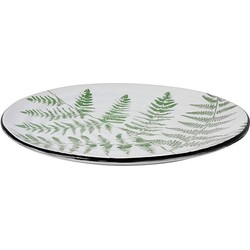 HKliving Jungle Bord Porselein Ø 26,5 cm - Ferns