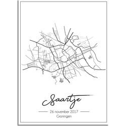 Geboorteposter Grijs - Stadskaart - Geboorteplaats - A3 + Fotolijst zwart