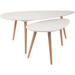 24Designs Set 2 Salontafels Drop - Wit Tafelblad - Houten Poten
