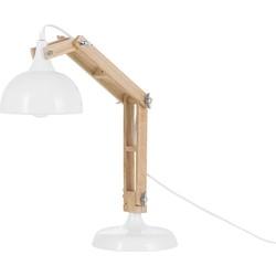 Bureaulamp met hout in wit - tafellamp - industrieel - SALADO